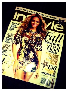 September Issue Instyle Magazine featuring Beyonce in a sparkly gold mini dress